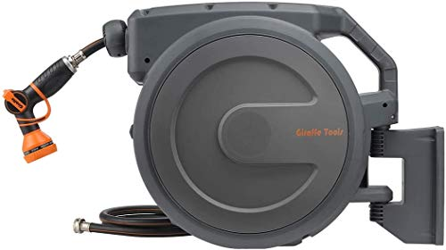 """Giraffe Hose Reel, 5/8""""×90' Wall Mounted Retractable Garden Hose Reel with 9 Pattern Hose Nozzle, Any Length Lock/Automatic Rewind/Slow Return System/Wall Mounted/180°Swivel Bracket"""