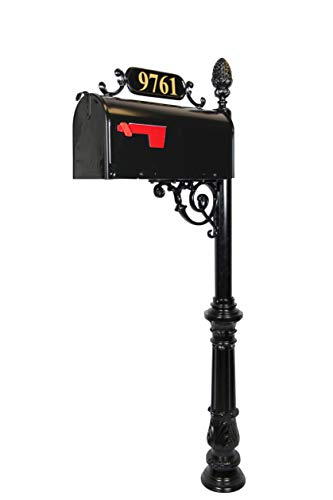 ADDRESSES OF DISTINCTION Charleston Large Mailbox & Post System – Black Rust Resistant Mailbox – Includes Address Plaque, Scroll & Mounting Hardware – Metal Mailbox with Pineapple Finial