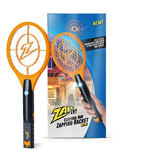 ZAP IT! Bug Zapper Rechargeable Mosquito, Fly Killer and Bug Zapper Racket - 4,000 Volt - USB Charging, Super-Bright LED Light to Zap in The Dark - Safe to Touch (Mini, Orange)