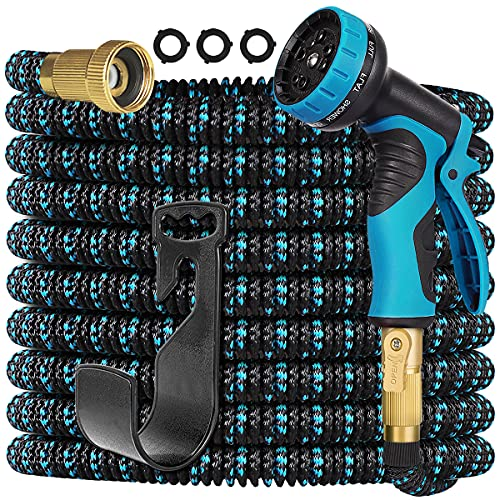 Gardguard 50ft Expandable Garden Hose Water Hose with 10 Function Nozzle and Durable 3-Layers Latex, Water Hose with Solid Fittings