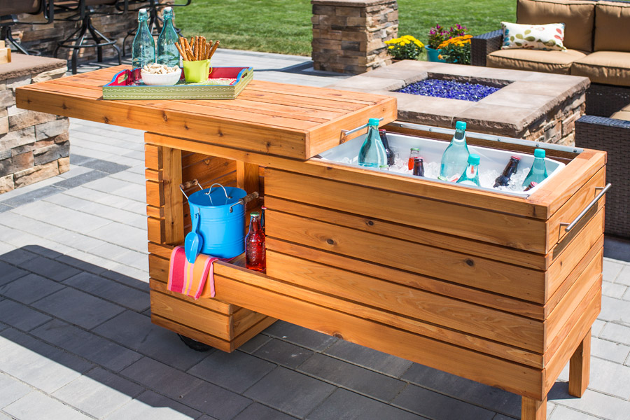 This outdoors counter also serves as a storage unit.