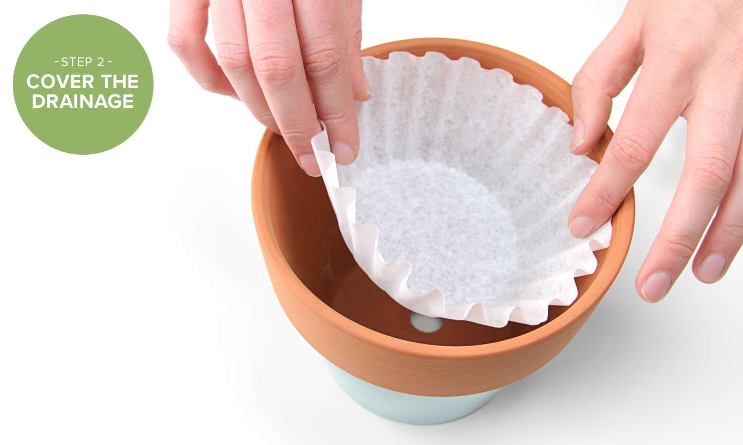 Use Coffee Filters to Stop Planters from Leaking Dirt