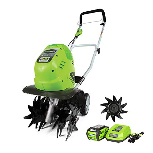 Greenworks 10-Inch 40V Cordless Cultivator with Extra Tines, 4Ah Battery and Charger Included 27062