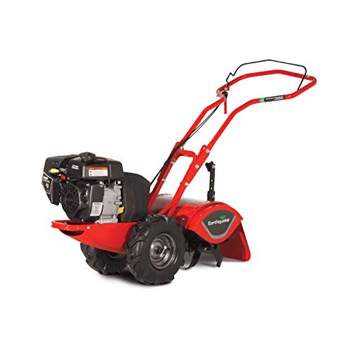 """Earthquake Rear Tine Tiller, 4-Cycle 196cc Powerful Kohler Engine, Large Non-Pneumatic Wheels, 16"""" Tilling Width with Reverse"""