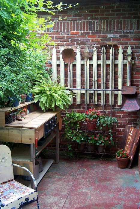 Garden tool rack from old fence